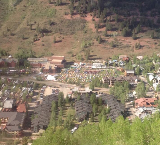 Looking down on the tent camp in Telluride