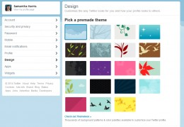 Design tab in Settings Menu.  Select from a premade design or scroll down to upload your own.