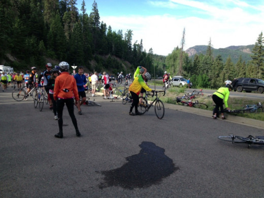 Rest stop #1 and pancakes before starting up Wolf Creek Pass.