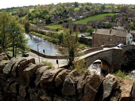 The County Bridge from de Bailleul's castle at Barnard Castle - before boundary changes in 1974 this was the county boundary between Yorkshire and County Durham going northward