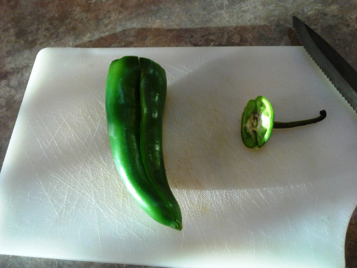 Step Six: Chop off the top of your pepper and slice it down the middle