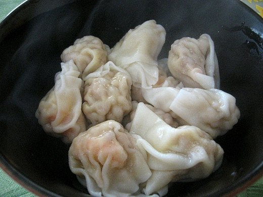 Wontons can be steamed or boiled before being added to a specially prepared broth