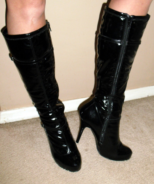Patent leather boots for her