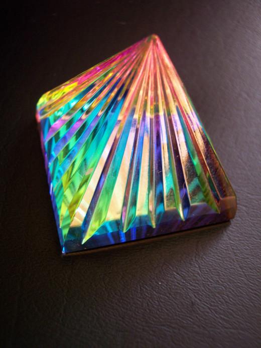 Colorful crystal pyramid