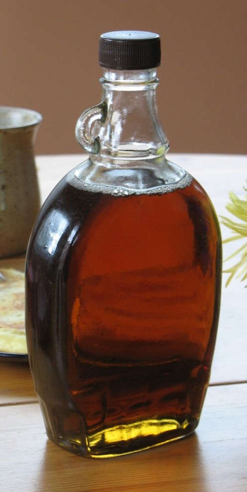 Bottle of maple syrup from Quebec, Canada.