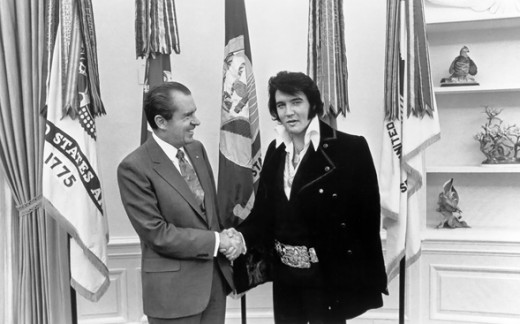 Elvis Presley visits President Richard Nixon at the White House in Washington, D.C. on December 21st, 1970.