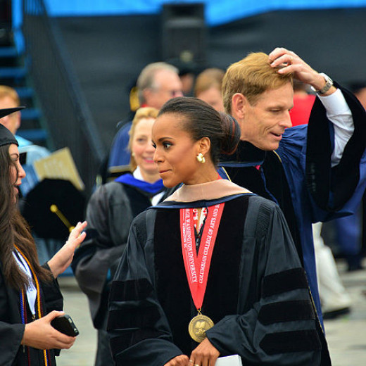 Star of TV Show Scandal, Kerry Washington after speaking at Georgetown University