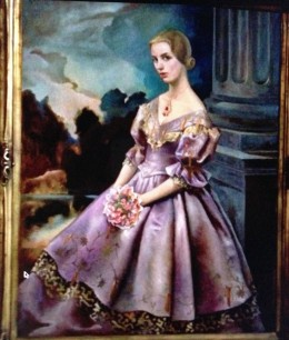 Portrait of Carlotta, which (in the film) hung in the Palace of the Legion of Honor art gallery in San Francisco. Madeleine visited it often, and Scottie watched her gaze at it. As with the fictional grave, no such painting actually exists.
