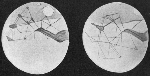 Percival Lowell's drawings of the network of canals on Mars