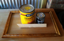 Real wood and stain and sealer.
