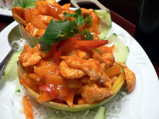 Mango chicken is one of the classic meat with fruit dishes
