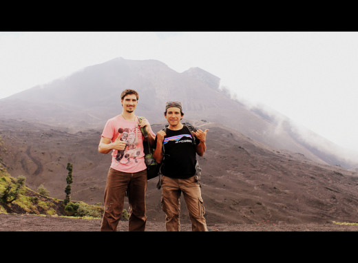Andy and guide on Volcan Pacaya.