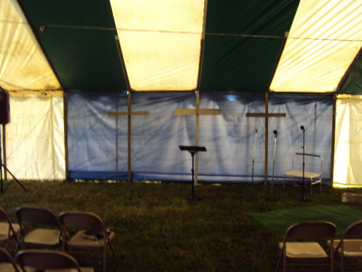 View of Doc Van's tent ready for tent revival Moraine, Ohio