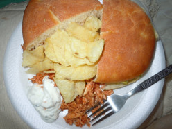 Barbeque Chicken on King Sized Homemade Buns with Chips and Dip
