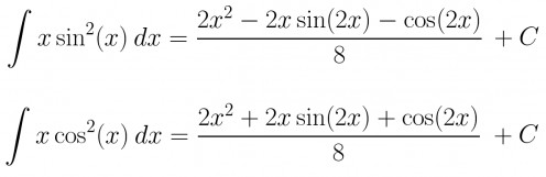 Antiderivatives of x*sin(x)^2 and x*cos(x)^2.