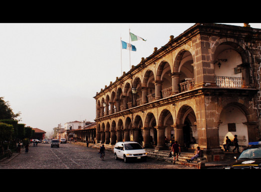 The Spanish colonial style architecture in Antigua's central square