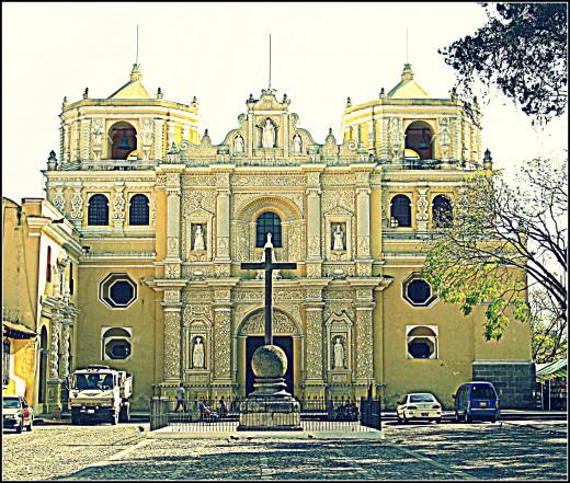 Antigua's yellow iglesia, Convento de Nuestra. South side of Antigua town.