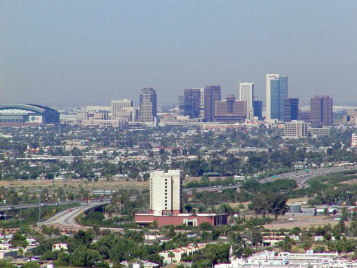 The modern day Phoenix skyline, the largest city in the Southwest.
