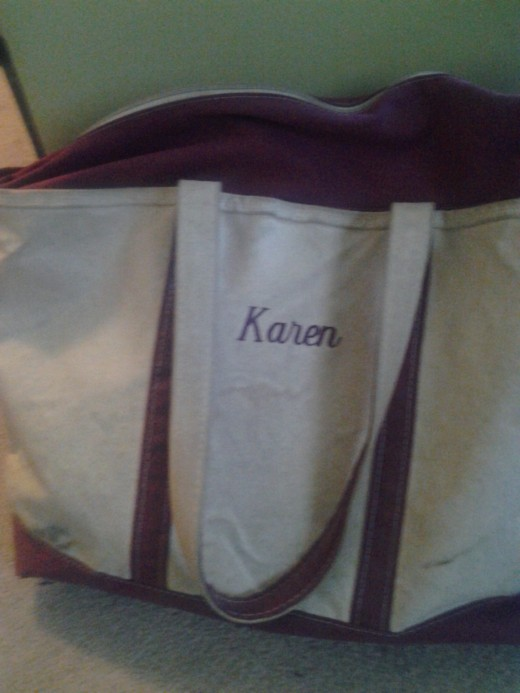 My personalized canvas work bag is my constant companion on Mondays, when I travel by train to work in Boston