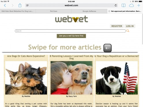 Screenshot of the Webvet website