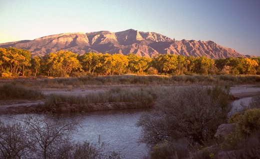 Sandia Mountain from the front, or west side.