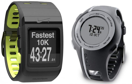 Nike (left) and Garmin Forerunner