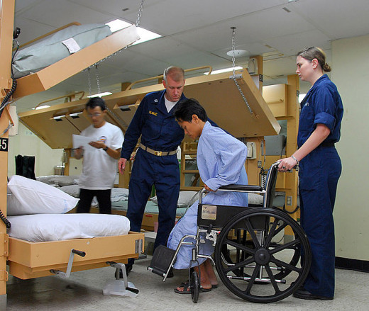 Navy Nurses assisting a patient who is at risk for Falls