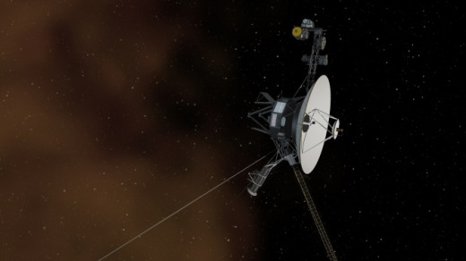 An artists drawing of what the Voyager probe looks like with its instruments extended.