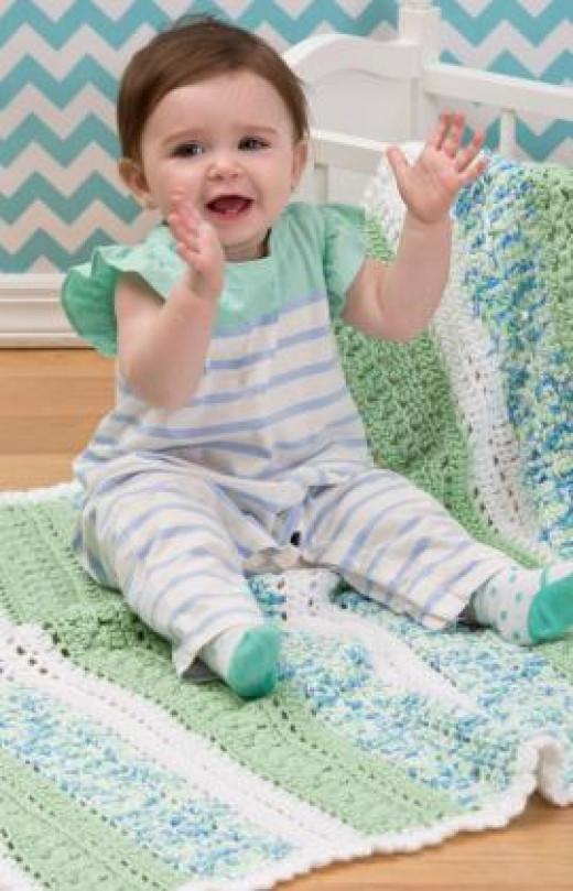 Textured Stripes Baby Blanket Crochet Pattern