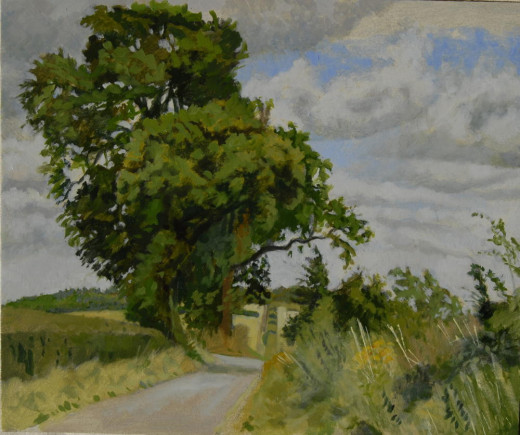 'On the way to Rowthorne', oil on board.