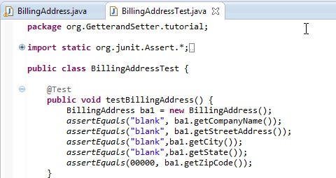 The code for the BillingAddress constructor method.