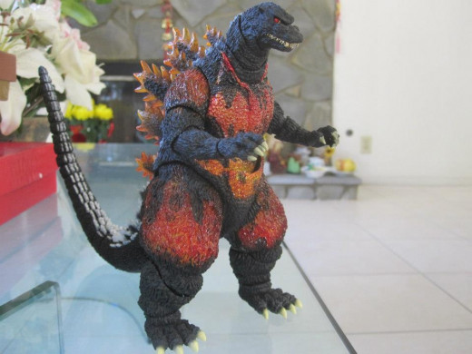 Usually known as Burning Godzilla, the figure is officially named Godzilla (1995) for the MonsterArts line.