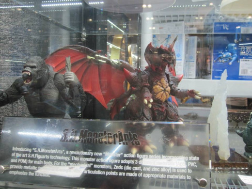 SH MonsterArts figures on display. Included in this picture is SH MonsterArts King Kong (this version is from the Peter Jackson movie).