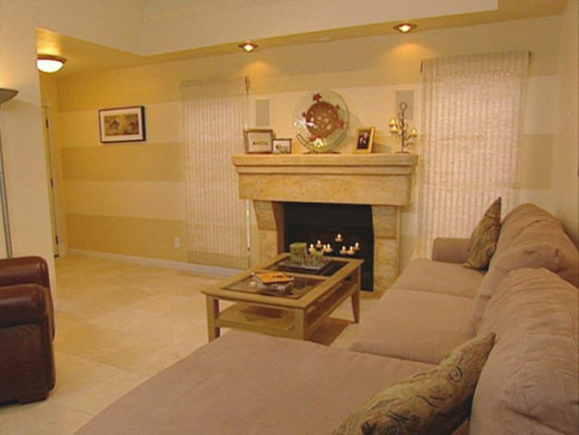 horizontal striped walls in a basement in yellow tones