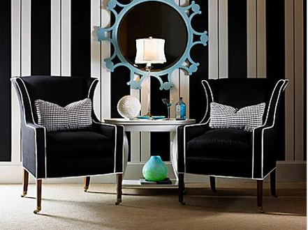 elegant black and white striped walls