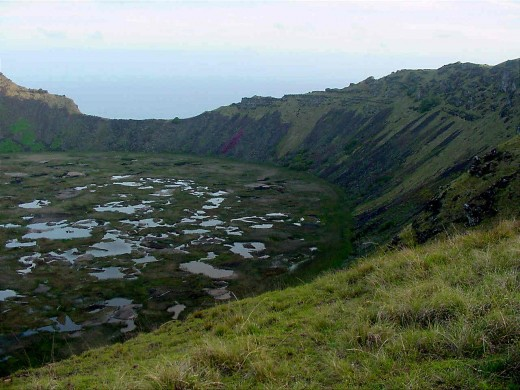 One, of three volcanoes on Easter Island
