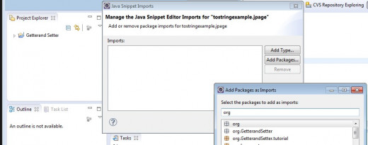 "Select the ""Set Import Class Declarations"", then select ""Add Package"", begin typing, ""org"" and ECLIPSE will help by present a list, select your tutorial package."