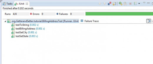 Once the new code for the overriding toString function is set, the test cases run successfully.