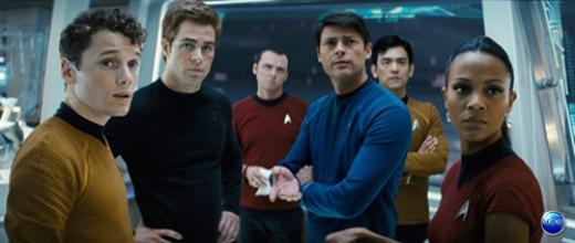 Zoe Saldana as Uhura and the rest of the Enterprise crew at the bridge