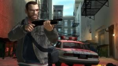 Grand Theft Auto 4 is rated M for violence and language. In the game you complete missions and hijack cars, planes and boats.