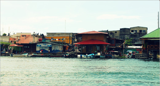 Shores of the Rio Dulce town.