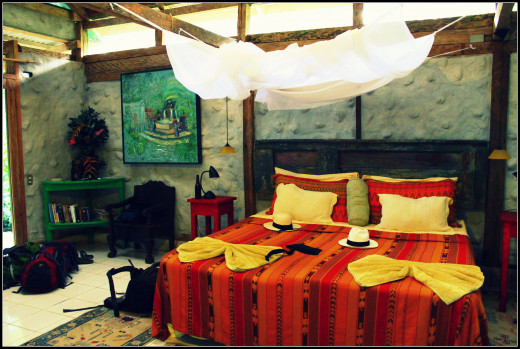 Our room at El Tortugal. The mosquito net, malaria pills and a greasy slather of Bushman's heavy duty insect repellent were a must.