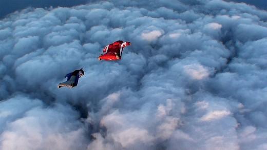 Wingsuits enable flyers to rise above rain clouds.