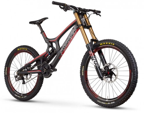 The downhill race bike is structured for effectiveness.