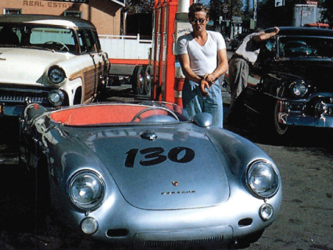 "James Dean with his1955 Porsche 550 Spyder -- nicknamed ""Little Bastard""."