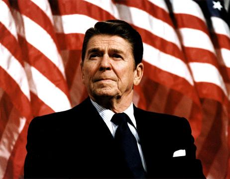 Ronald Reagan, the 40th president of the United States (1981 - 1989).