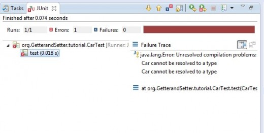 The resulting failure completion messages which give the indication that Car could not be resolved (it doesn't exist).