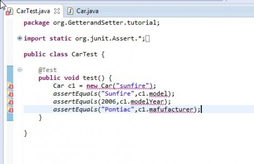 Errors are reflected for CarTest. A constructor method and fields need to be added to the Car claas.