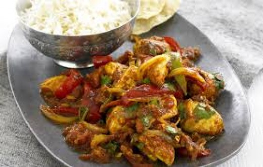 A Jalfrezi, note the large vegetable pieces.