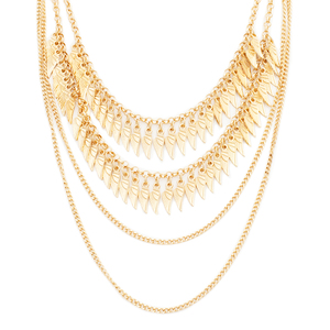 This delicate, four-chain necklace features two cascading strands of angel wings. If you're looking for a layering necklace with the classic look of gold and a bit of a twist.